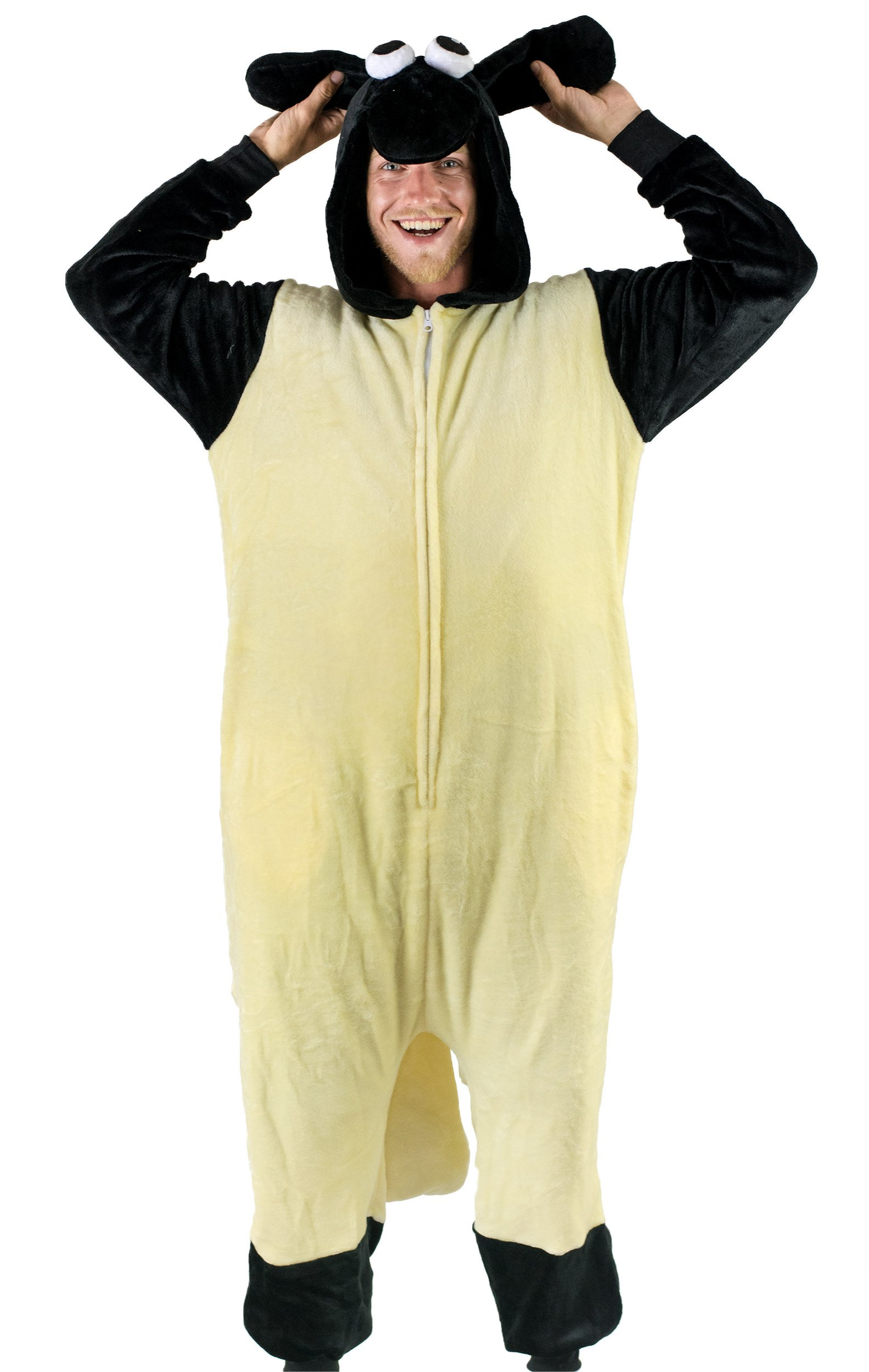 Bad Bear Brand Adult Onesie Sheep Animal Pajamas Comfortable Costume With Zipper and Pockets (Large)