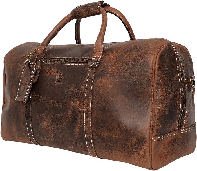 Handmade Large Vintage Cuir bagages Duffle Voyage Weekend Nuit Sport Sac
