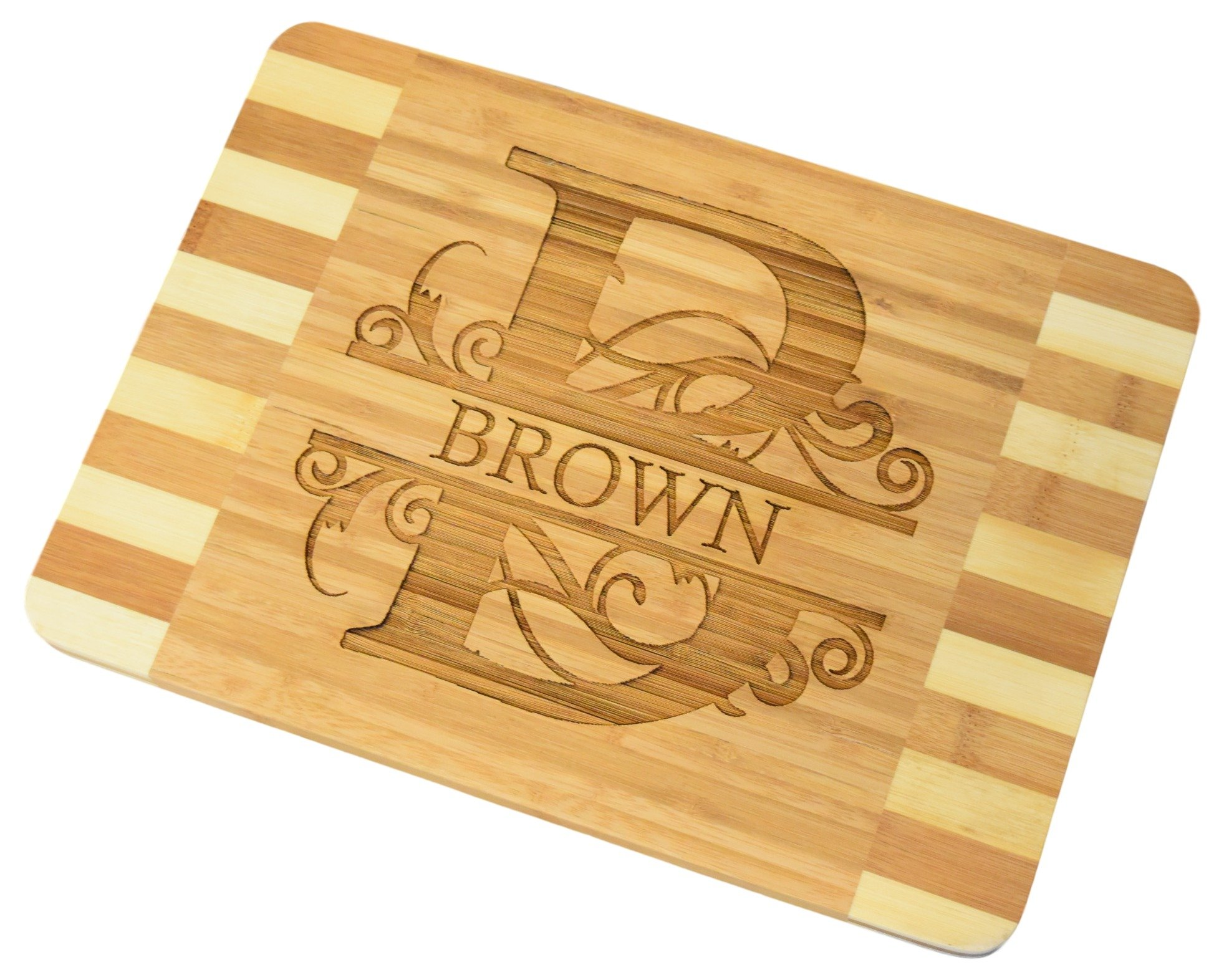 Personalized / Custom Engraved Bamboo Wood Cutting Board - 13.6''x9.6''x0.7''