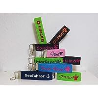 Schlüsselanhänger mit Name oder Spruch personalisiert - individuell bestickt - Filzanhänger- Geschenk - Glücksbringer - Schulanfang