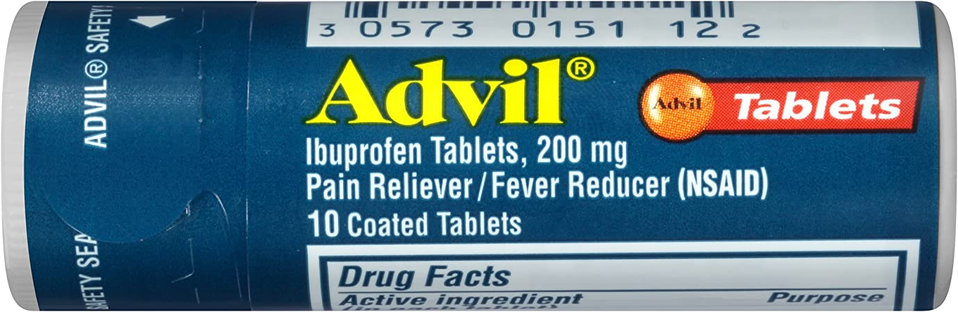 Advil (10Count) Pain Reliever/ Fever Reducer Coated Tablet, 200Mg Ibuprofen, Temporary Pain Relief