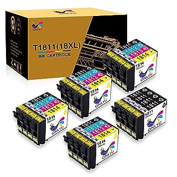 ONLYU 20Pack Compatible para Epson 18XL T1811-T1814 para Epson XP-30 XP-33 XP-102 XP-202 XP-205 XP-212 XP-215 XP-225 XP-302 XP-305 XP-312 XP-315 ...