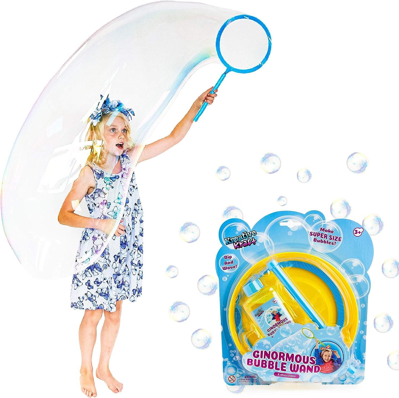 KreativeKraft Juego De Burbujas Gigantes | Conjunto De Burbujas De Jabón con Varita De Burbujas Gigante Y Liquido De Burbujas | Juguetes De Burbujas para Niños | Juguete De Jardín | Juego