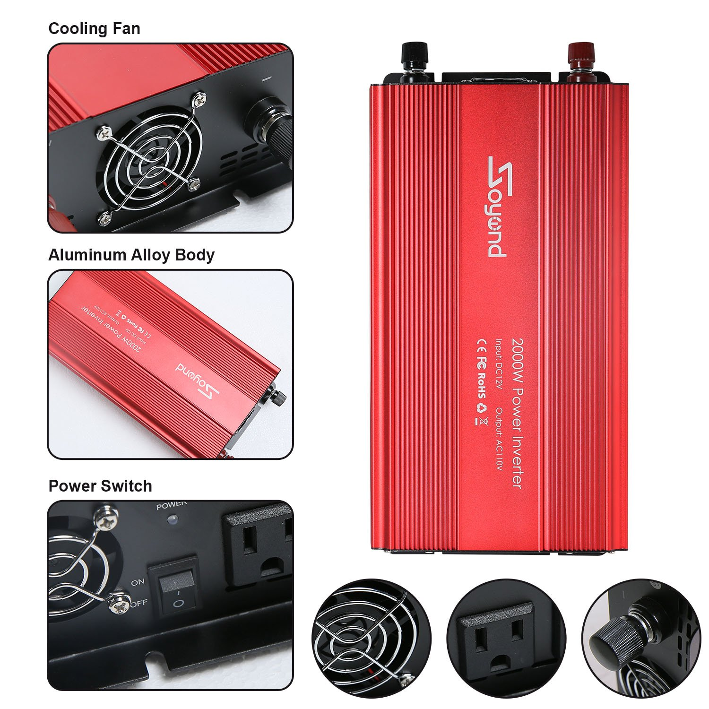 Soyond 1000w Car Rv Power Inverter Dc 12v To 110v 120v 3 Ac Outlets Home