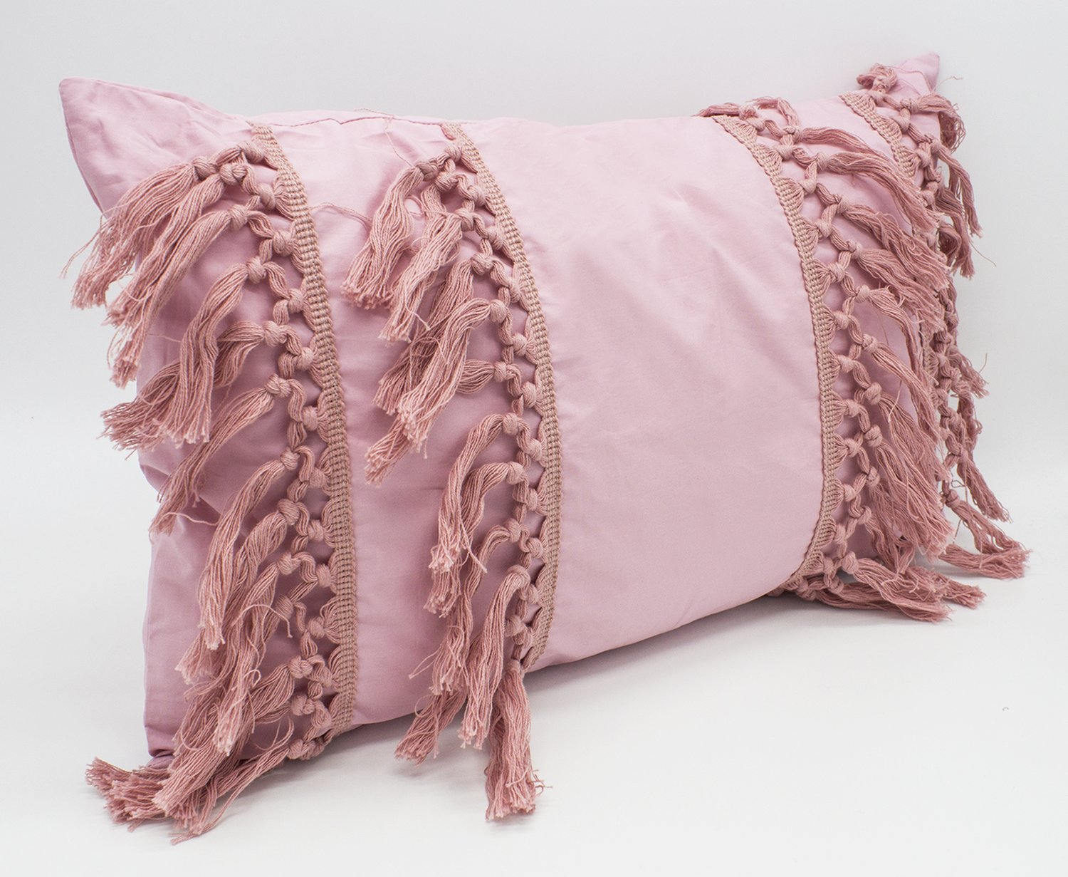 "Fennco Styles Stylish Fringe Tassels Decorative Cotton Throw Pillow (Pink, 12""x20"" Case Only) - Add a stylish and modern look to your living space with this Stripe Print Tassel Fringe Throw Pillow from Fennco Styles The horizontal tassels are sure to liven up your home settings and gives your decor a playful appeal. Mix and match this pillow with your sofa, chair and day bed for some much-needed comfort and a style. The durable cotton and easy to maintain machine wash makes cleaning this pillow a breeze. Size: 18"" W x 18"" L, 12"" W x 20"" L - living-room-soft-furnishings, living-room, decorative-pillows - 810FIgmlvtL -"