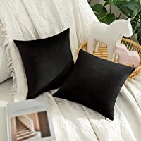 MIULEE Pack of 2 Velvet Pillow Covers Decorative Square Pillowcase Soft Solid Cushion Case for Sofa Bedroom Outdoor 12 x…