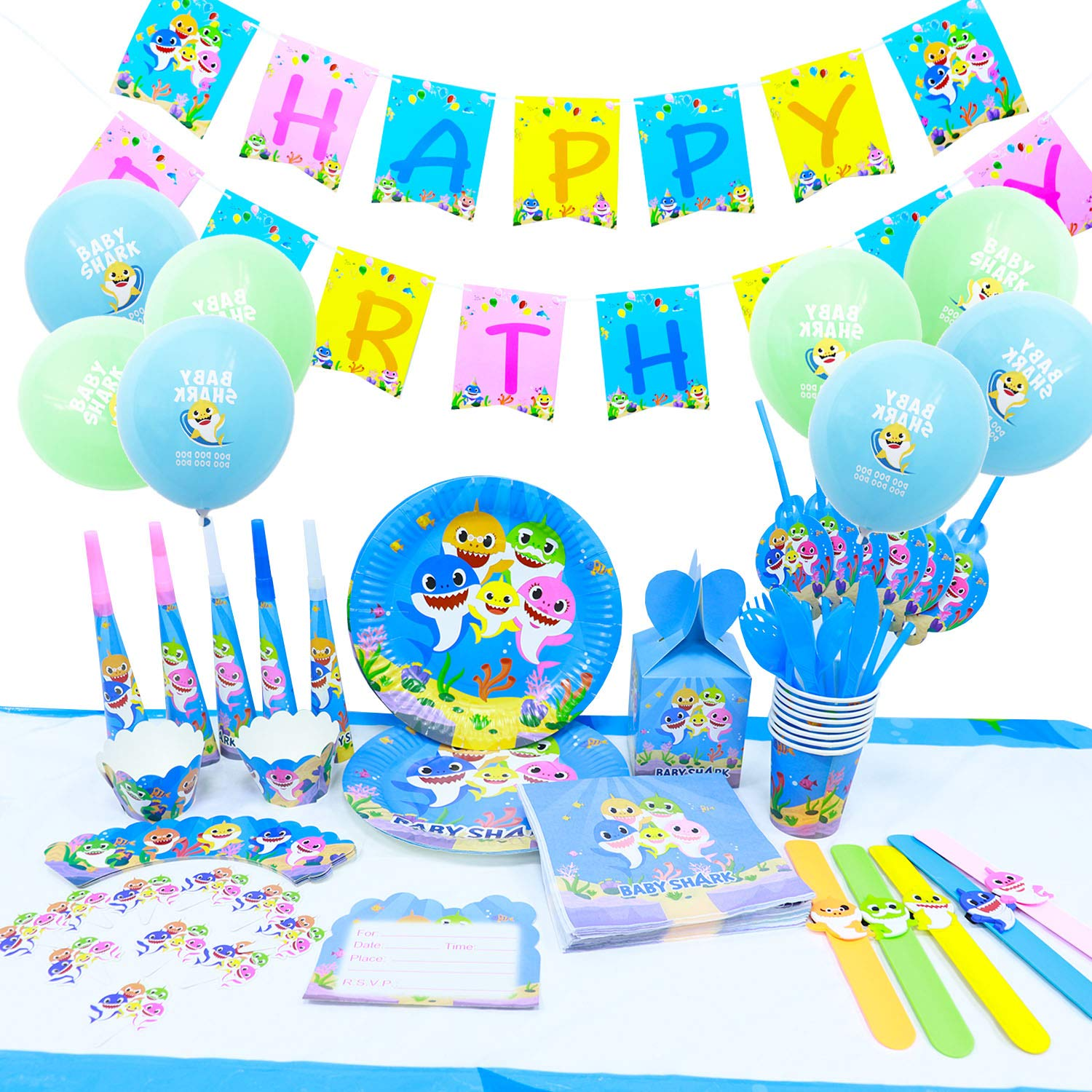 Baby Shark Party Supplies - 139 Pcs Kids Birthday Decorations Includes Disposable Tableware Kit Trumpet Candy Boxes Cupcake Toppers and Wrappers Baby Shark Bracelets Invitation Cards Balloon and Banner-Serves 10 Guest