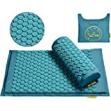 TimeBeeWell Eco-Friendly Back and Neck Pain Relief - Acupressure Mat and Pillow Set - Relieves Stress, Back, Neck, and Sciati