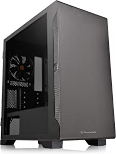 Thermaltake S100 Tempered Glass Black Edition Micro-ATX Mini-Tower Computer Case with 120mm Rear Fan Pre-Installed CA-1Q9-00S1WN-00