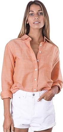 CAMIXA Camisa de Mujer Puro Lino Mao Blusa Basica Manga Larga Túnica Top Fresco: Amazon.es: Ropa y accesorios
