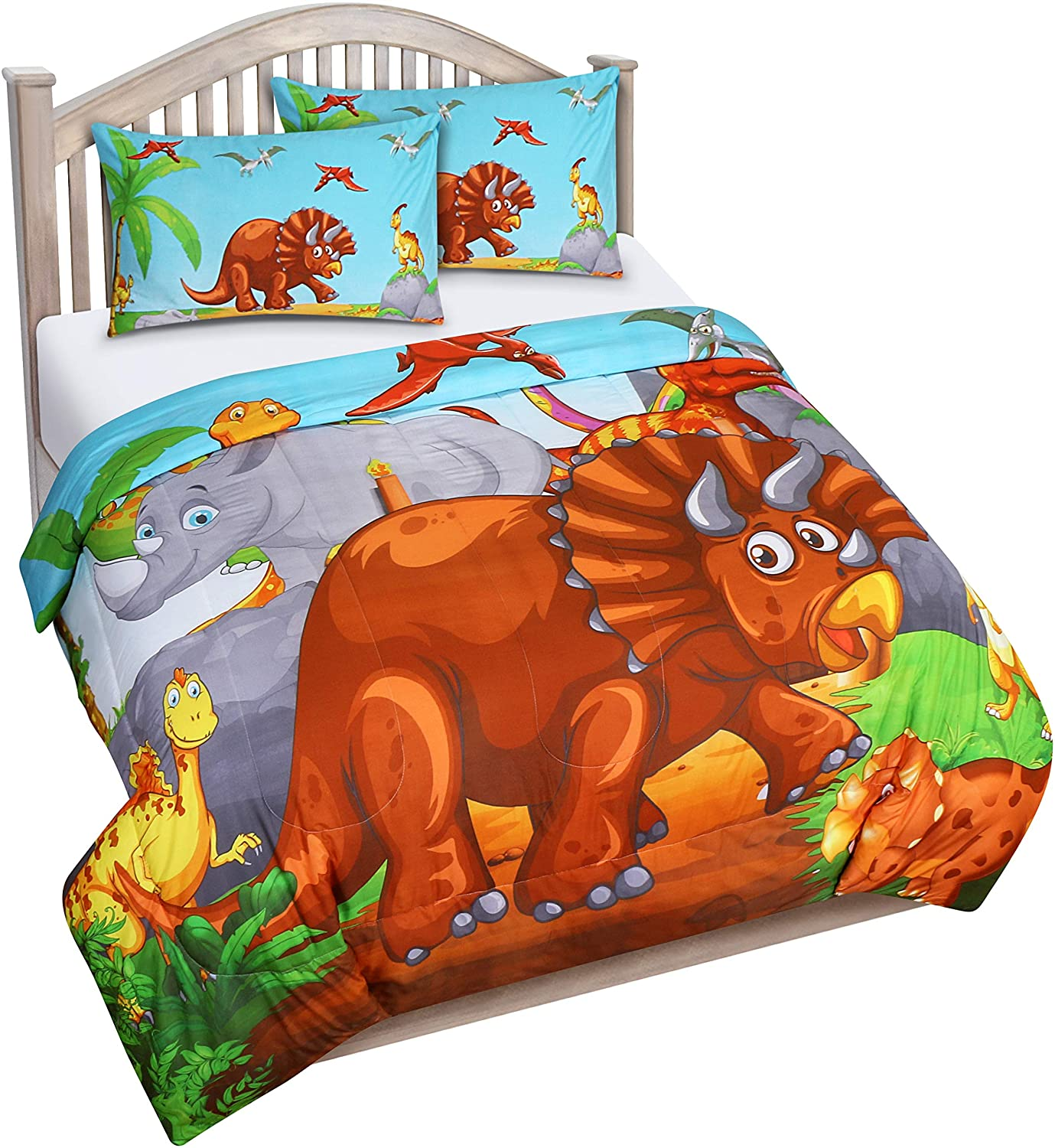 Utopia Bedding All Season Dinosaur Comforter Set - 3 Piece Brushed Microfiber Kids Bedding Set - Full/Queen
