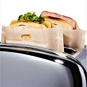 3 Sizes 12 Pack Toaster Bags Reusable for Grilled Cheese Sandwich | Safest On The Market - FDA & LFGB Approved - 100% BPA & Gluten Free | Non Stick Toast Bag Made of Premium Quality Teflon