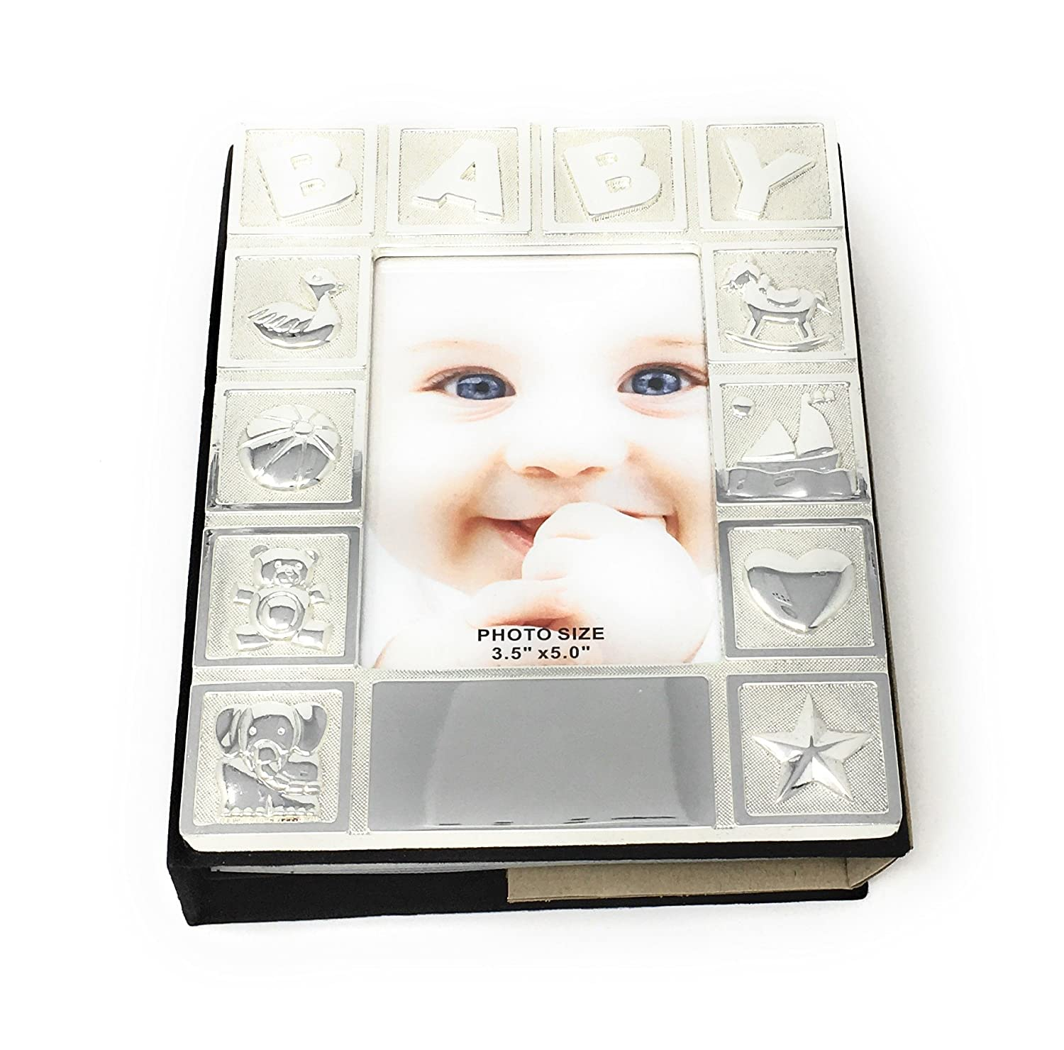 Amazoncom Personalised Silver Plated Baby Photo Album Free
