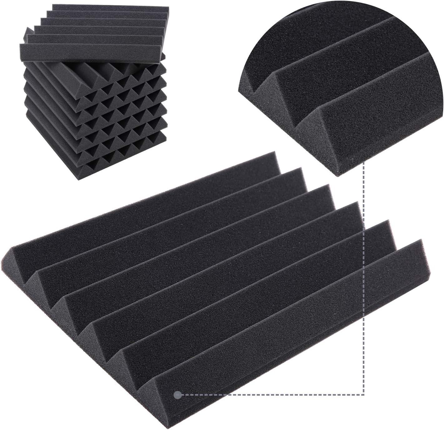 Paneles Acústicos Espuma Acústica, Ohuhu 24 Planchas Paneles Acústicos para Estudios, Paneles Absorbentes Acústicos con Diseño Clásico, Dimensiones 40,5 X 30,5 X 5 cm, Negro