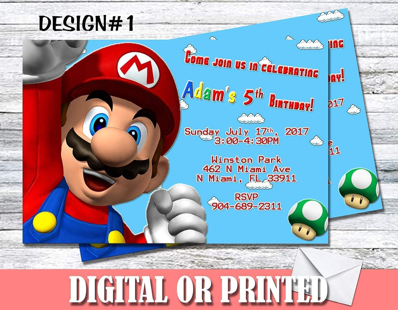 Amazon Com Super Mario Personalized Birthday Invitations More