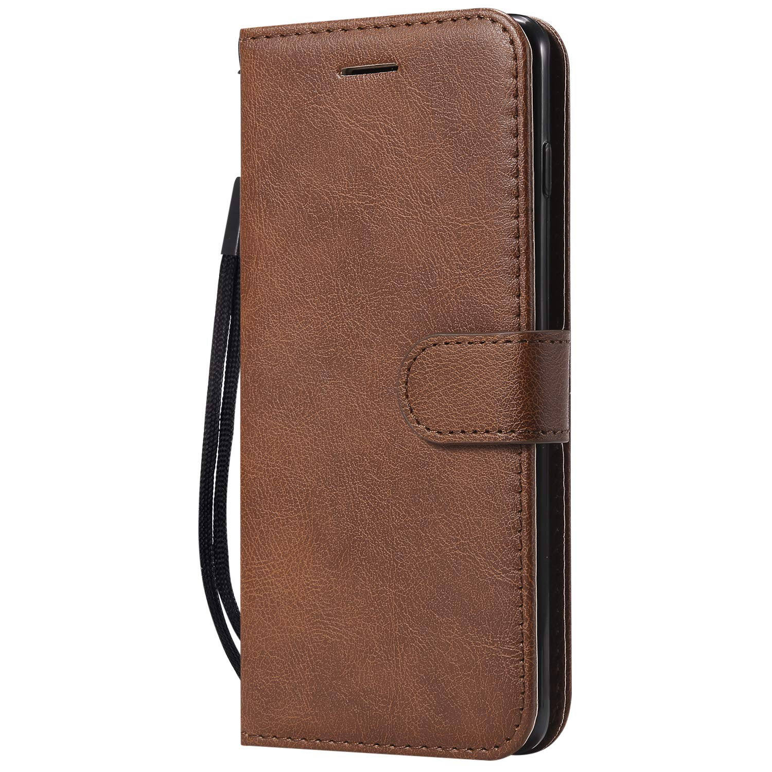 Galaxy S10e Case,AIIYG DS Classic Pure Color [Kickstand Feature] Flip Folio Leather Wallet Case with ID and Credit Card Pockets for Samsung Galaxy S10e,Brown