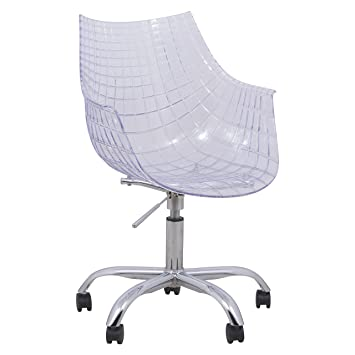 Gentil LeisureMod Ashville Chromed Leg Swivel Chair With Arms, Clear