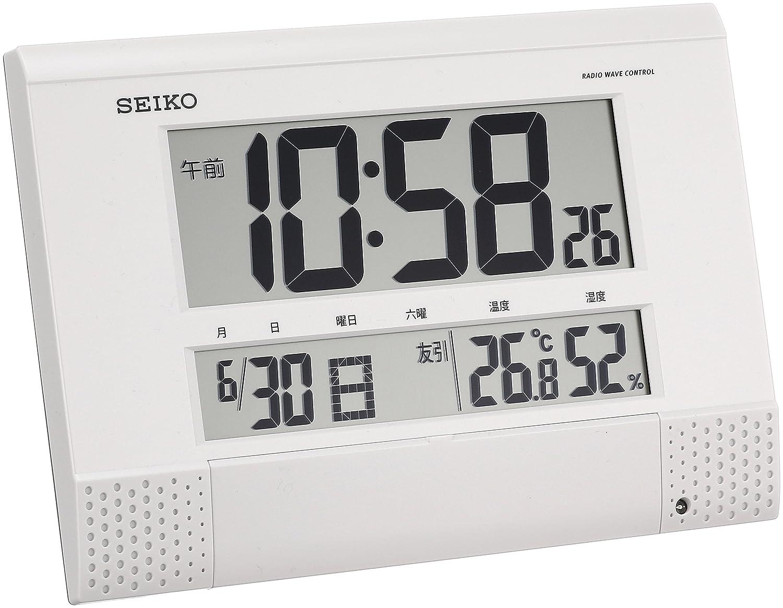 セイコー クロック 掛け時計 置き時計 兼用 電波 デジタル プログラム機能 カレンダー 六曜 温度 湿度 表示 コンパクト 白 パール SQ435W SEIKO B00SWQCJQW
