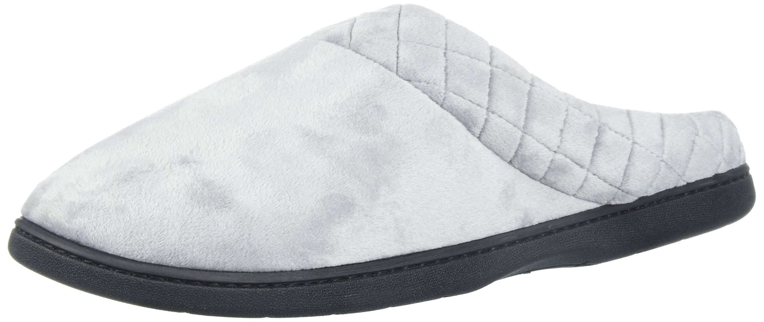 Dearfoams Women's Microfiber Velour Clog w/Quilt, Medium Grey, XXL Medium US