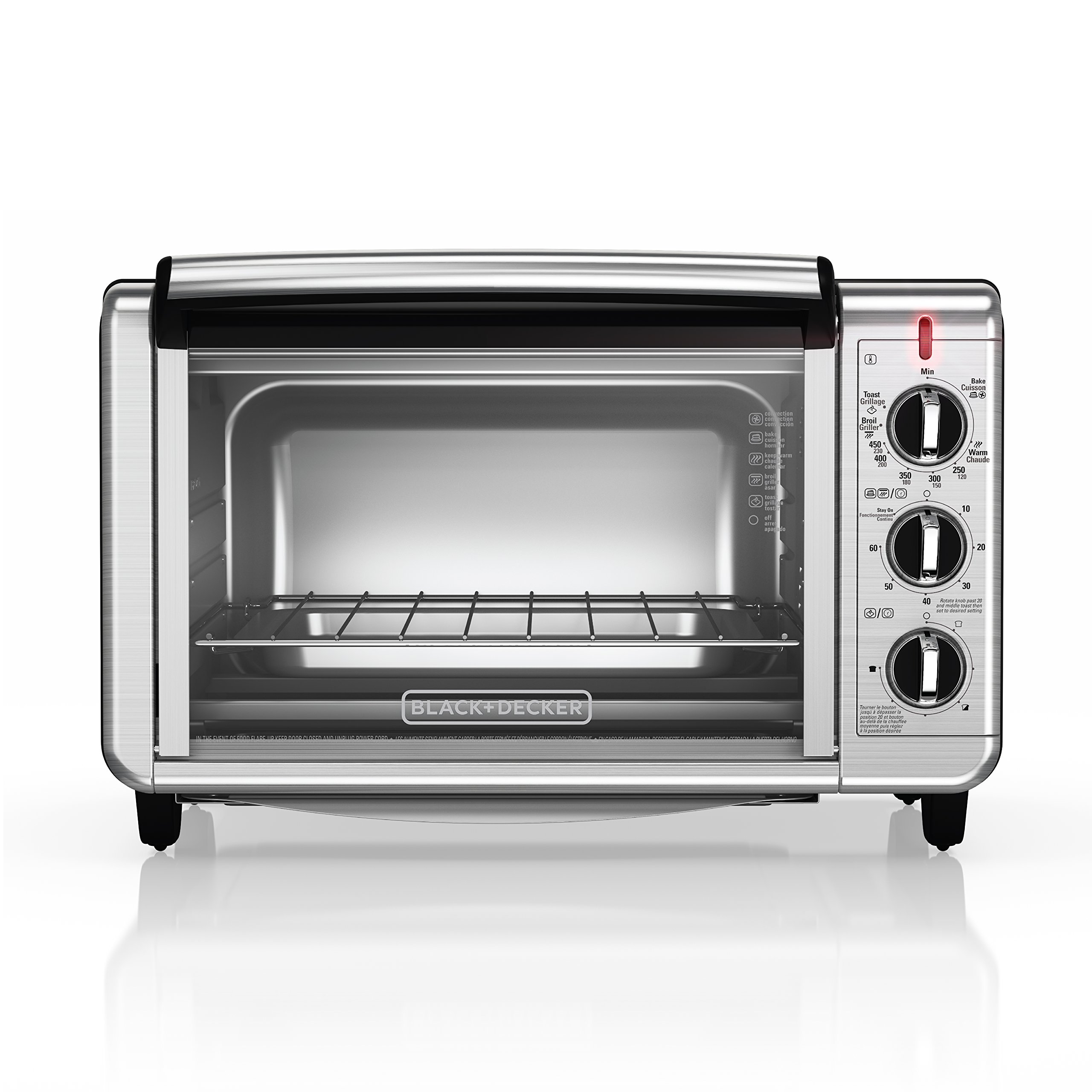 BLACK+DECKER TO3230SBD 6-Slice Convection Countertop Toaster Oven, Includes Bake Pan, Broil Rack & Toasting Rack, Stainless Steel Convection Toaster Oven by BLACK+DECKER