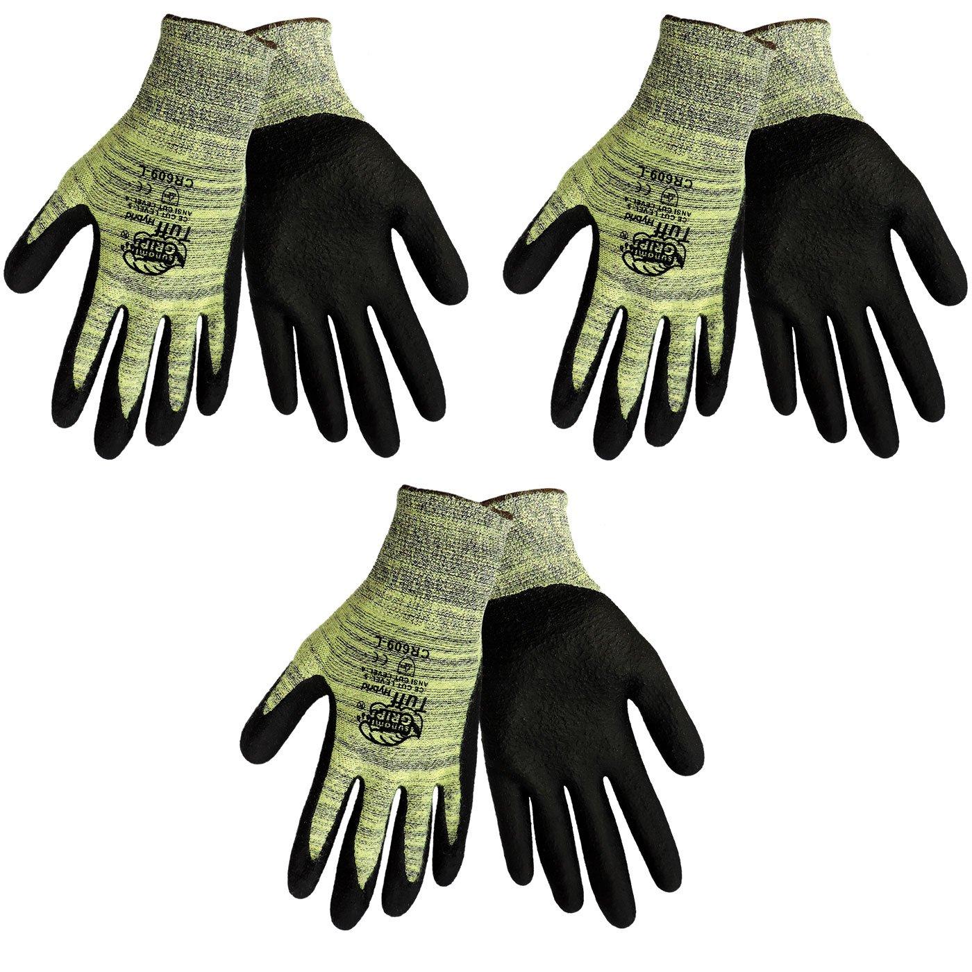 Tsunami Grip CR609 Tuff Hybrid Cut Resistant Nitrile Coated Work Glove Sizes S-XL, (3 Pair Pack) (Large)