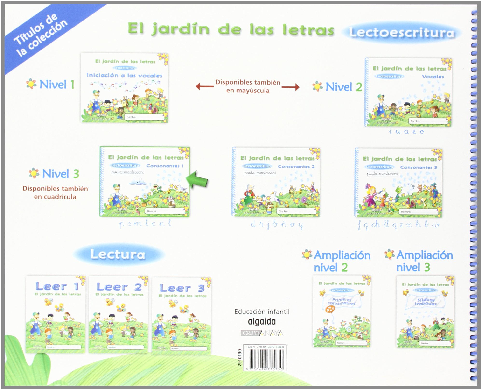 El jardín de las letras. Consonantes 1. Educación Infantil Educación Infantil Algaida. Lectoescritura - 9788498775730: Lectoescritura Pauta: Amazon.es: Campuzano Valiente, María Dolores: Libros