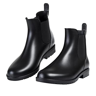 9cbee2bf210a Asgard Women s Short Rain Boots Waterproof Black Elastic Slip On Ankle  Booties B34