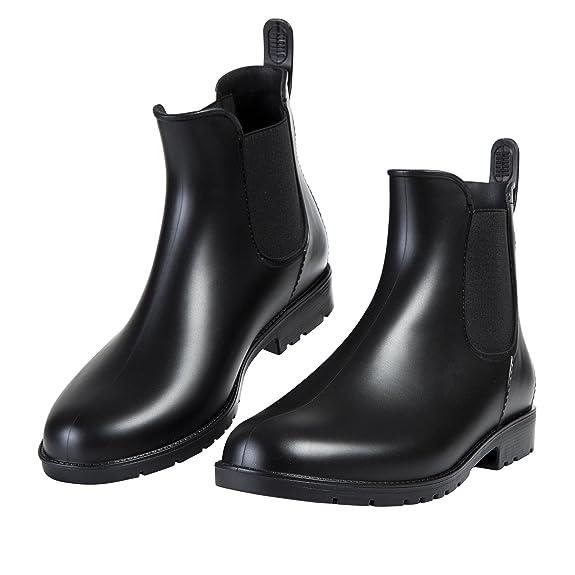 Asgard Women's Short Rain Boots Waterproof Black Elastic Slip On Ankle Booties B39