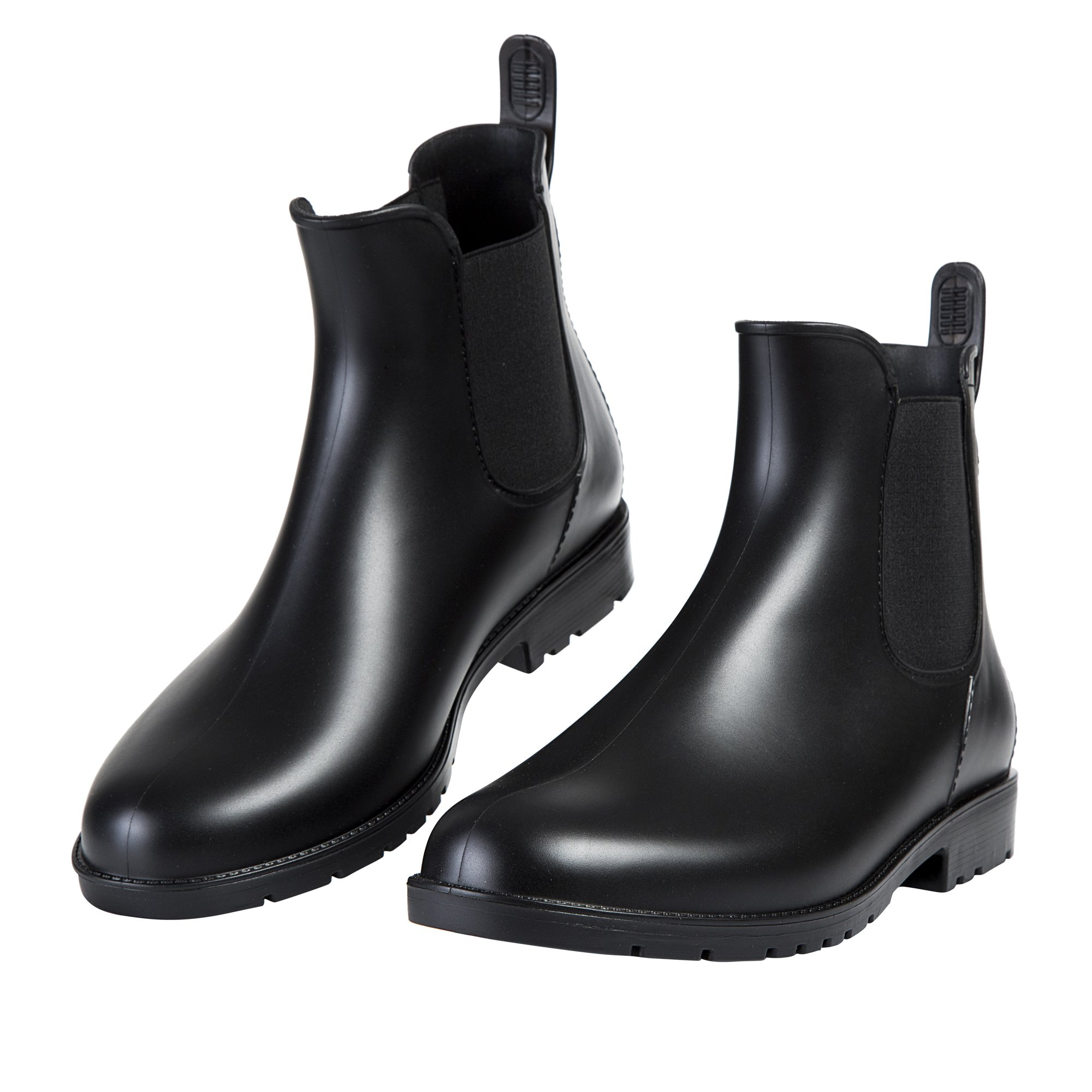 Asgard Women's Short Rain Boots Waterproof Black Elastic Slip On Ankel Booties B36