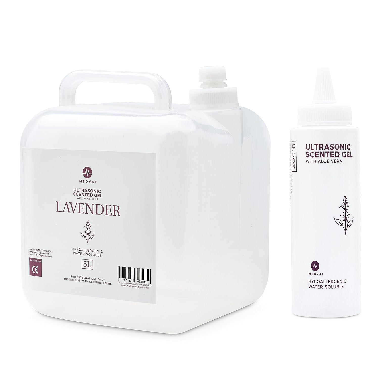 Medvat Clear Transmission Gel – Lavender Scented – 5 Liter Container – Includes 8-oz. Refillable Bottle