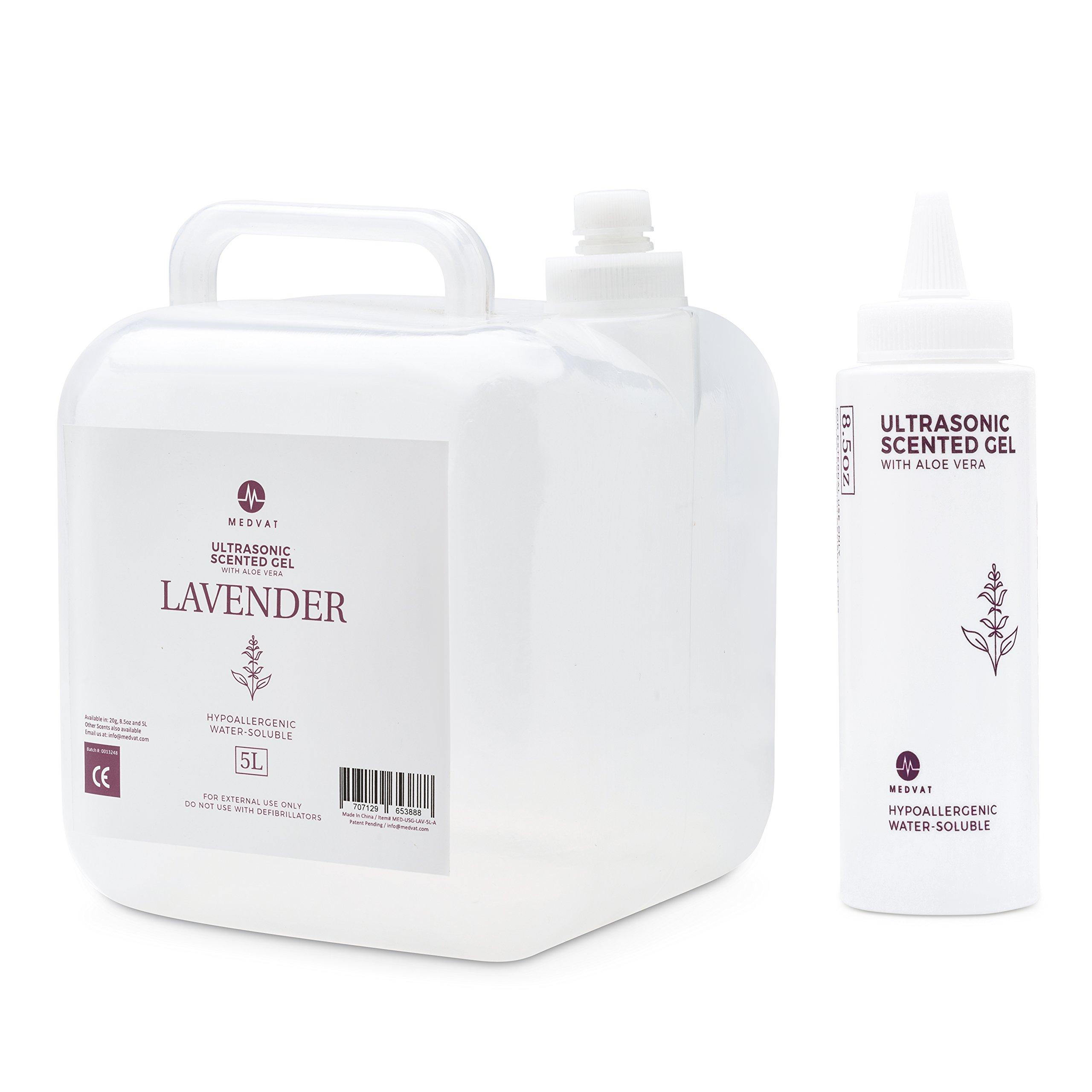 Medvat Clear Transmission Gel - Lavender Scented - 5 Liter Container - Includes 8-oz. Refillable Bottle by Medvat