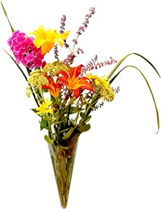Gadjit Vinyl Window Vase Contemporary Style - Vase Suctions to Windows and Mirrors, Holds Bouquet of Flower Stems and Water, Clear Flexible Vinyl
