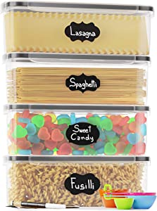Chef's Path Airtight Food Storage Container Set - Ideal for Pasta, Spaghetti & Noodles - 4 PC/All Same Size - Kitchen Pantry Organization and Storage - Plastic Canisters with Durable Lids