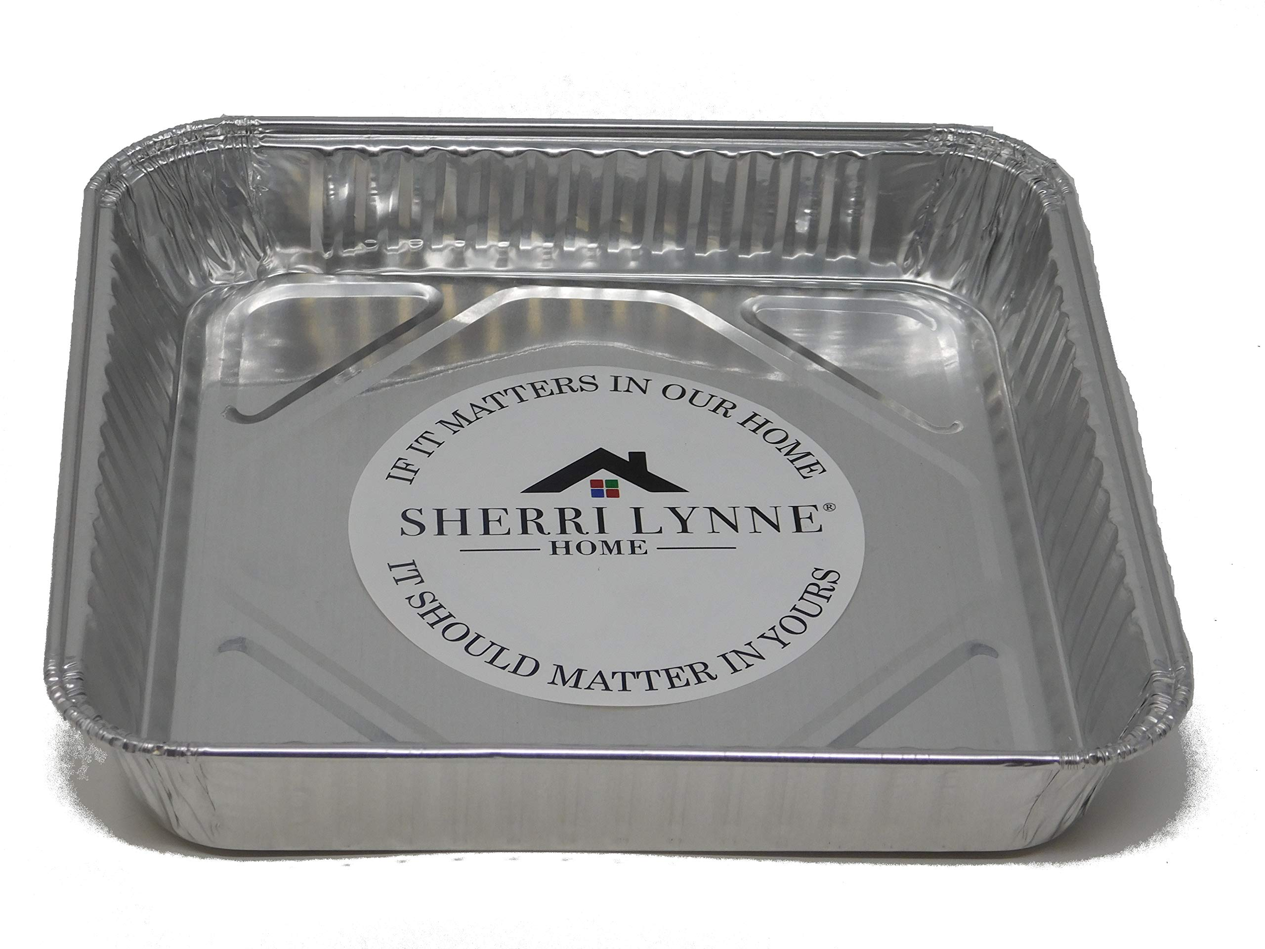 Sherri Lynne Home 8'' x 8'' Baking Pans - Disposable Aluminum Foil Baking Tins, Ideal for Brownie, Standard Size, 30 Pack