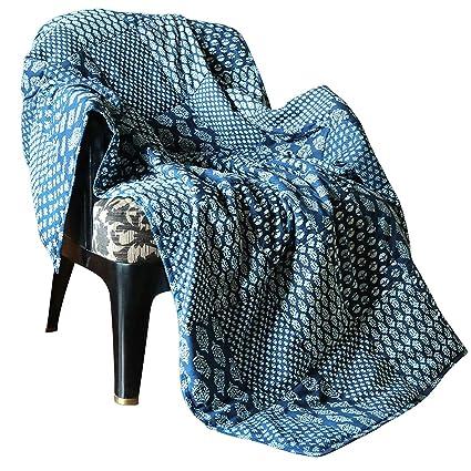 Manta Decorativa Grande Súper Suave y Cálido Edredón de Algodón, 50 x 60 Pulgadas - Azul