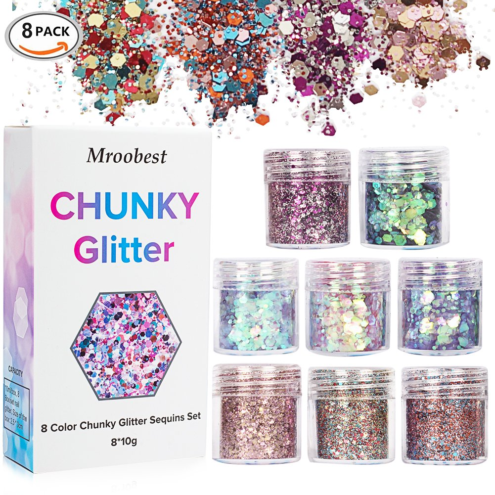 Chunky Glitter, Chunky Face Glitter, Face Glitter Set, Festival Glitter For Face, Face Glitter Chunky Glitter Cosmetic Glitter Sparkle Decoration Glitter Hair Body Face and Nails 8 Pack Mroobest
