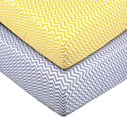 Crib Sheet Toddler Sheet UOMNY 100% Cotton Baby Coverlet for Baby Girl and Baby Boy 2 Pack(Yellow Wave Pattern/Gray Wave Pattern)