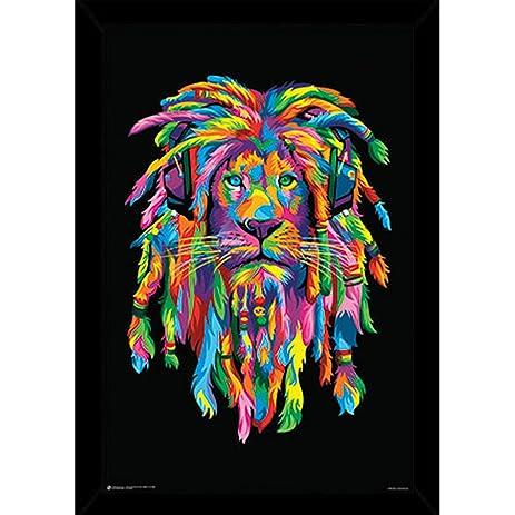 lion rasta poster 24x36 in a black wood frame