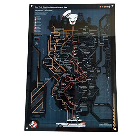 Subway Map Sign.Factory Entertainment Ghostbusters Nyc Subway Map Metal Sign