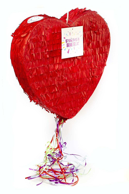 Herz Pinata 37 cm gro/ß in rot Trendario Pinata Hochzeit Ideal zum Bef/üllen mit S/ü/ßigkeiten und Geschenken ungef/üllt