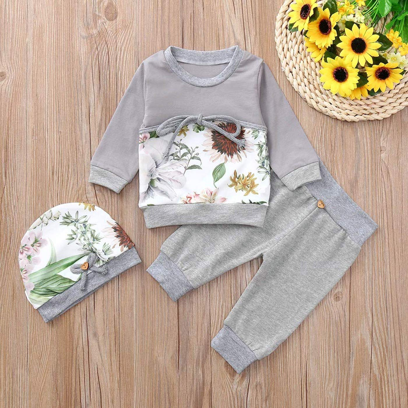 Toddler Baby-Boys-Girls Floral Print Tops T-Shirt Pants Hat Outfits Set