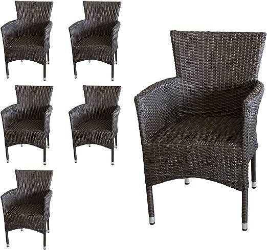 Juego de 6 – Sillón, ratán marrón, apilable – Juego de sillón de jardín silla apilable silla de jardín ratán silla Terraza Balcón para muebles muebles de jardín: Amazon.es: Jardín