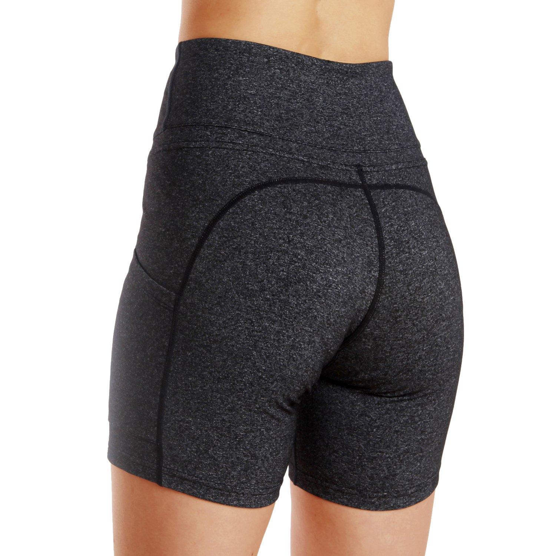 FUURY Womens High Waist Yoga Pants Capri Tummy Control Workout Leggings 4 Way Stretch Yoga Leggings with 2 Out Pockets (Dark Gray Short, M)