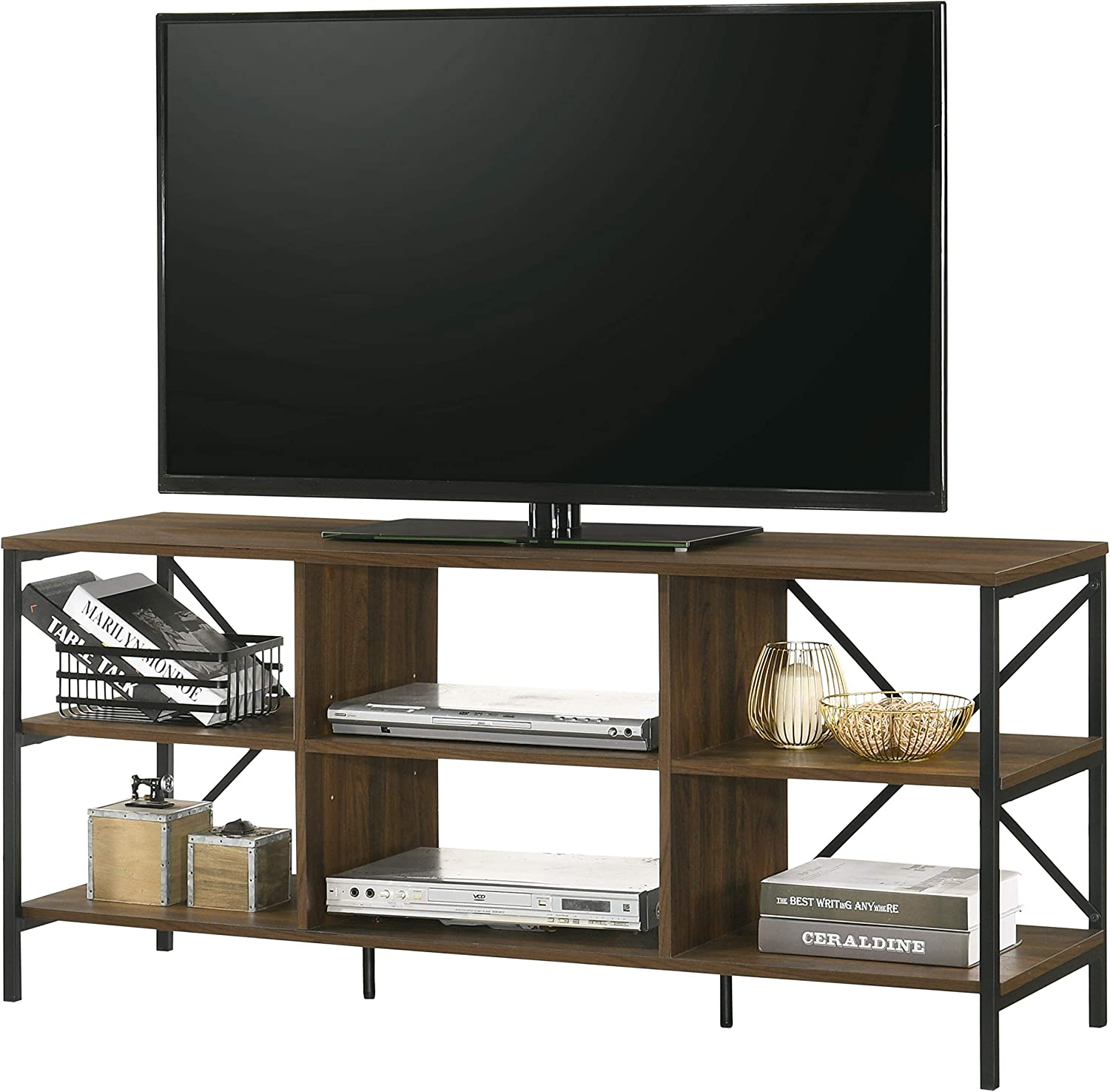 Furnitela Entertainment Center for 55 inch TV, Electronics Friendly TV Stand, Walnut Color Console Table with Storage