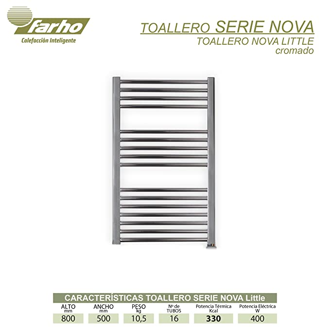 farho - Radiador Toallero Serie Nova Little Color Cromado, Digital Programable con 400 W (800 x 500 mm): Amazon.es: Hogar