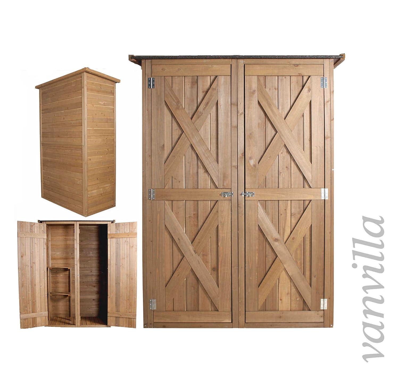 Gartenschrank Holz vanvilla geräteschuppen holz flachdach groß braun lasiert gerätehaus