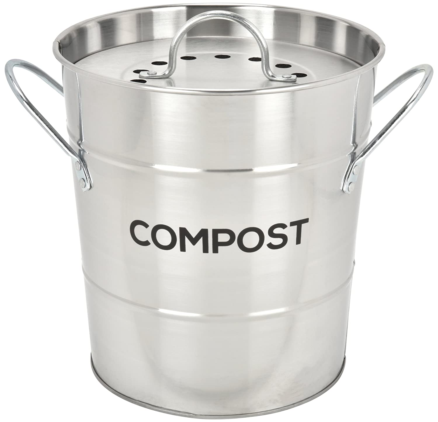 Spigo Indoor Kitchen Compost BIN, Great for Food Scraps, Includes Charcoal Filter for Odor Absorbing, Removable Clean Plastic Bucket, Handles, Durable Stainless Retro Design, 1 Gallon, Satin Silver