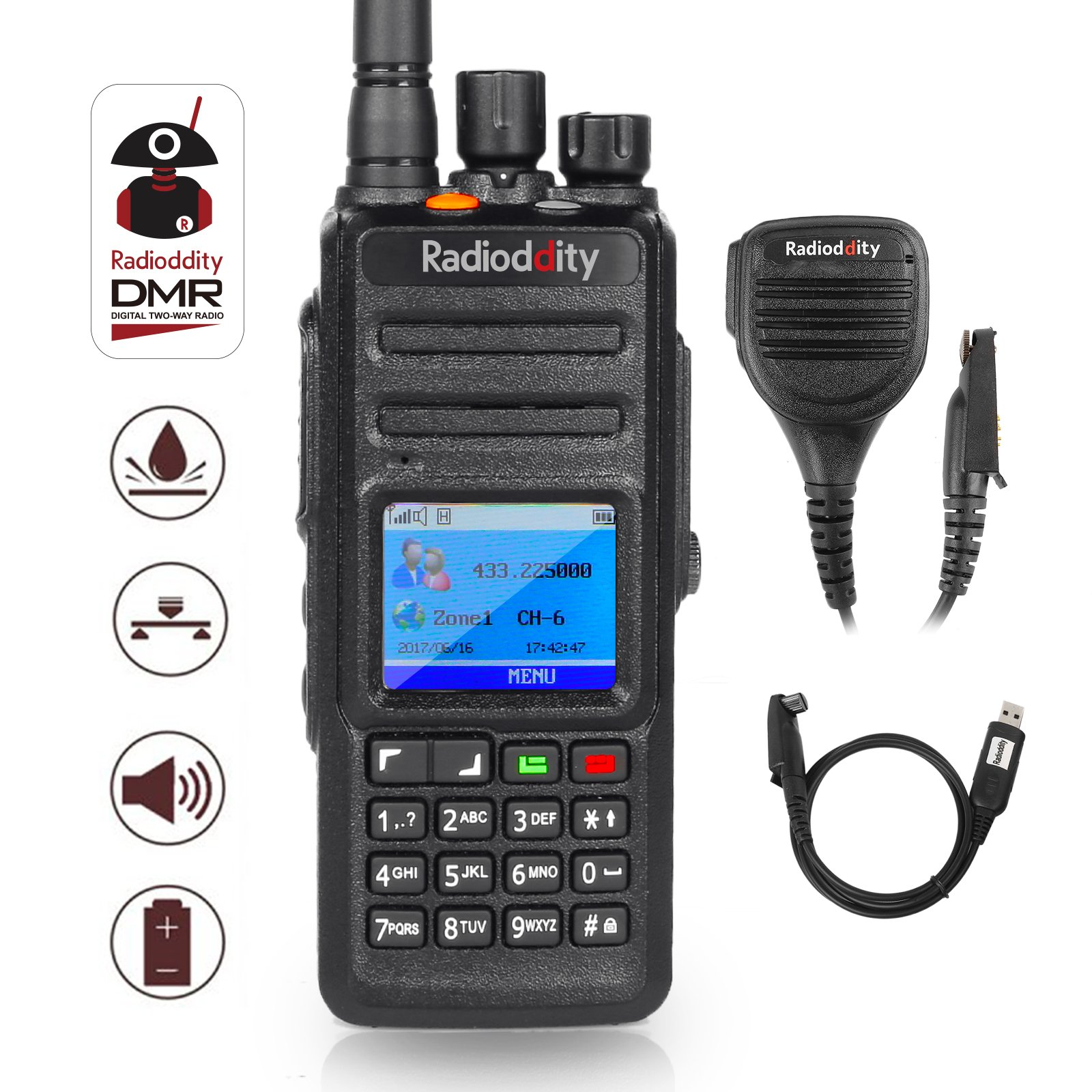 Radioddity GD-55 Plus 10W IP67 Waterproof UHF 400-470MHz 256CH 2800mAh DMR Two Way Radio Ham Radio Compatible with Mototrbo Dual Time Slot, with Free Programming Cable+ 2 Antennas + Remote Speaker