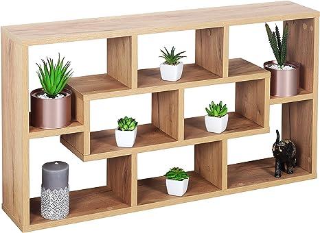 Wandregal Regal Hängeregal Eiche braun 4 Fächer Bücherregal Wandboard