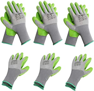 WORKPRO 6 Pairs Garden Gloves, Work Glove with Eco Latex Palm Coated, Working Gloves for Weeding, Digging, Raking and Pruning(M)